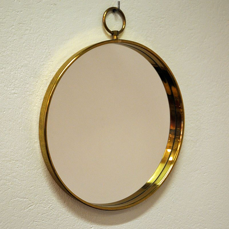 runder skandinavischer spiegel mit messingrahmen 1960er