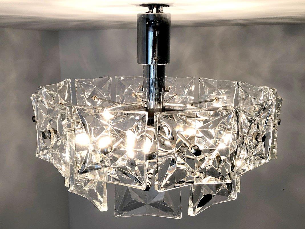 lustre en cristal de verre de kinkeldey allemagne 1960s. Black Bedroom Furniture Sets. Home Design Ideas