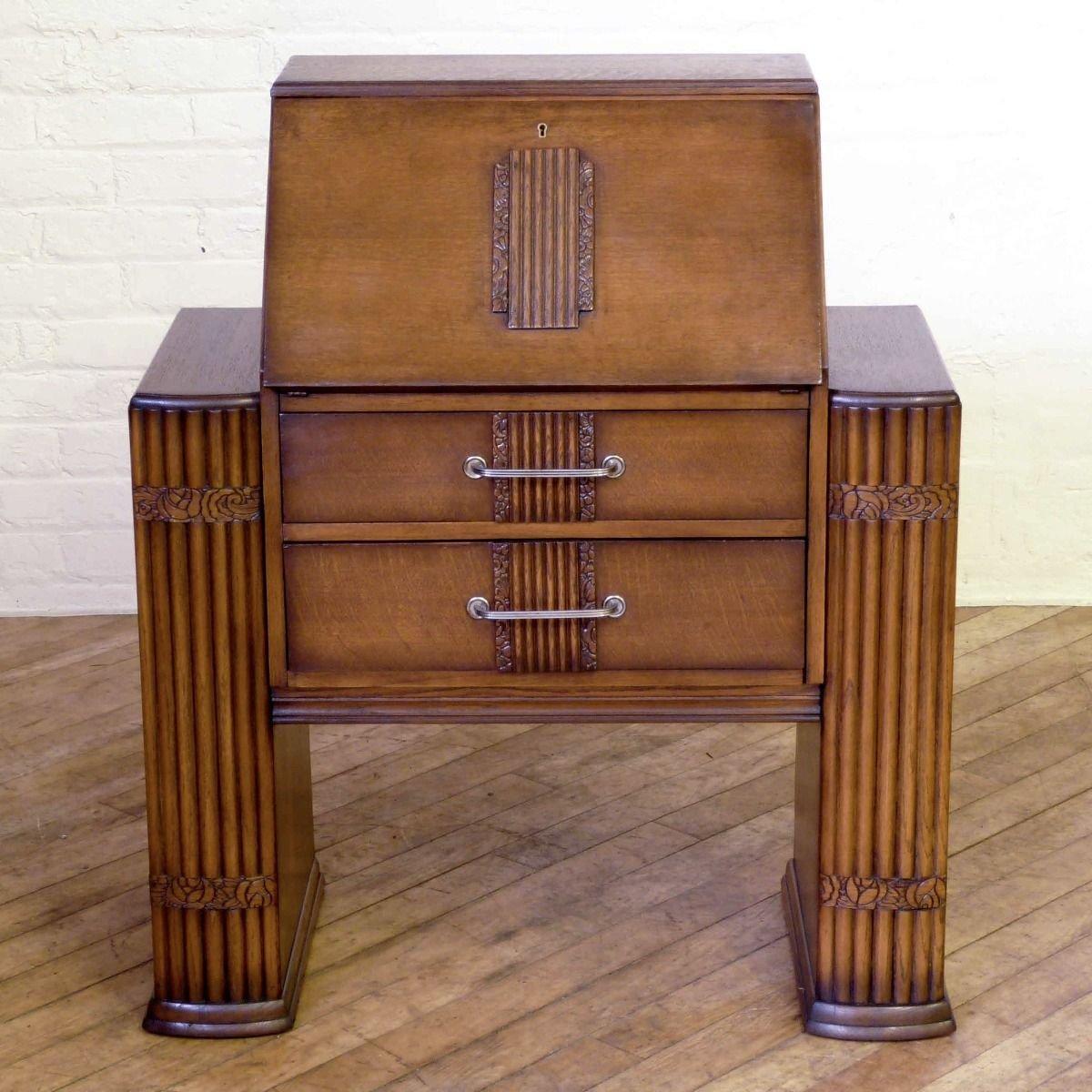 Art Deco Sekretär aus Eiche