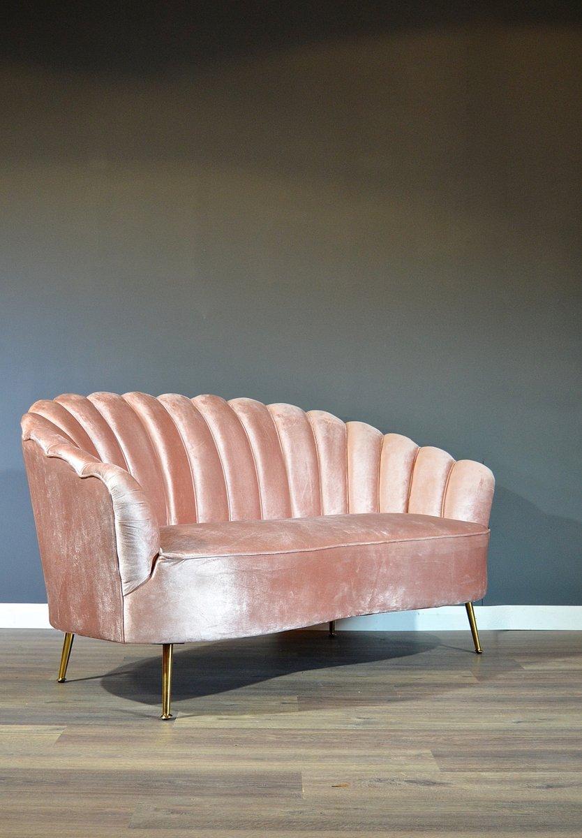 canap art d co vintage en velours rose poudr avec pieds. Black Bedroom Furniture Sets. Home Design Ideas