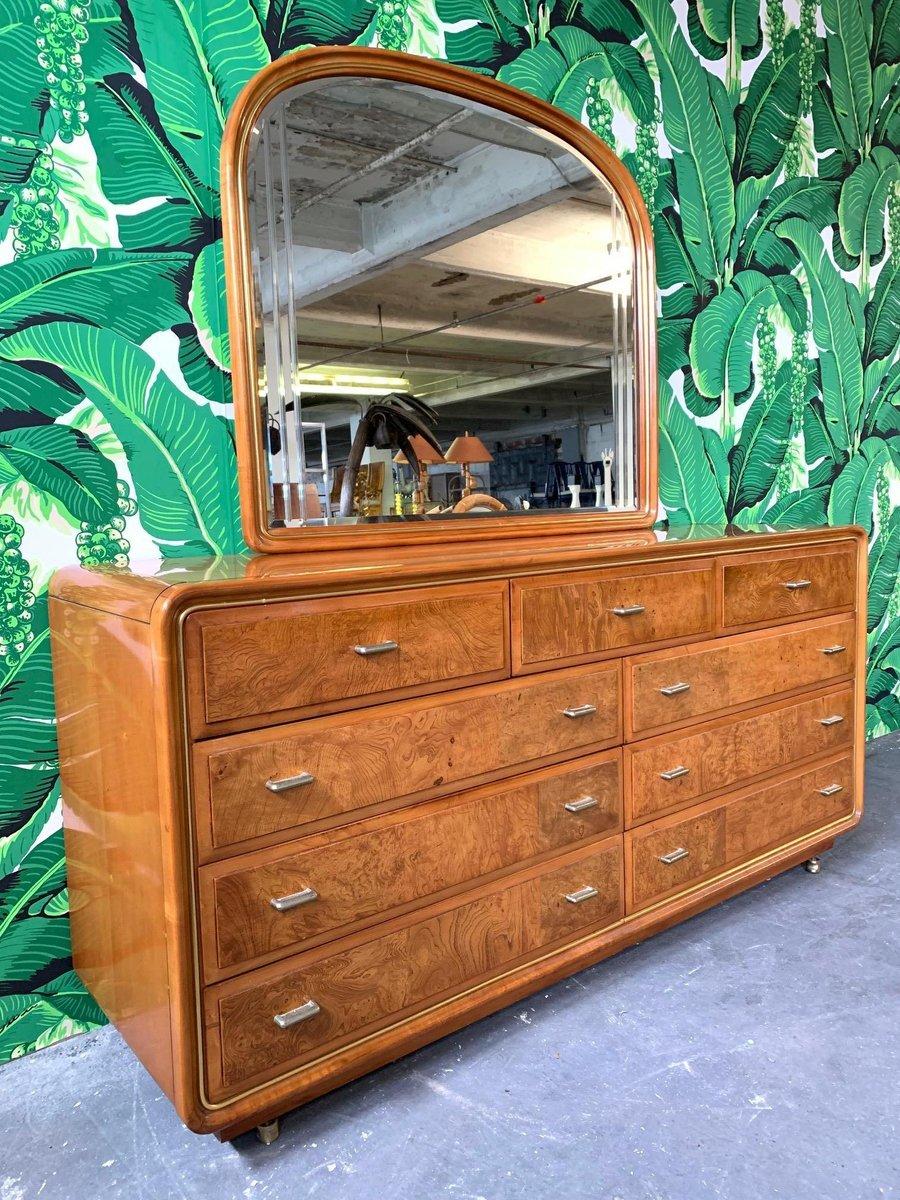 frisiertisch mit spiegel aus wurzelholz im art deco stil. Black Bedroom Furniture Sets. Home Design Ideas