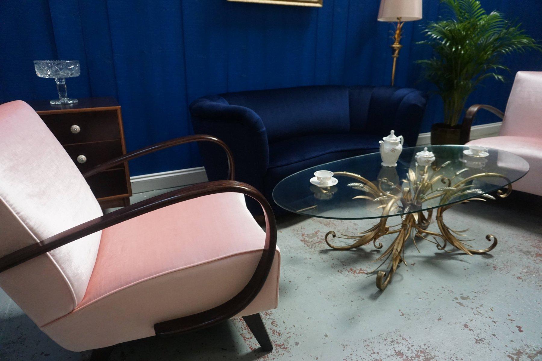 sessel aus bugholz in rosa samt von jind ich halabala f r. Black Bedroom Furniture Sets. Home Design Ideas