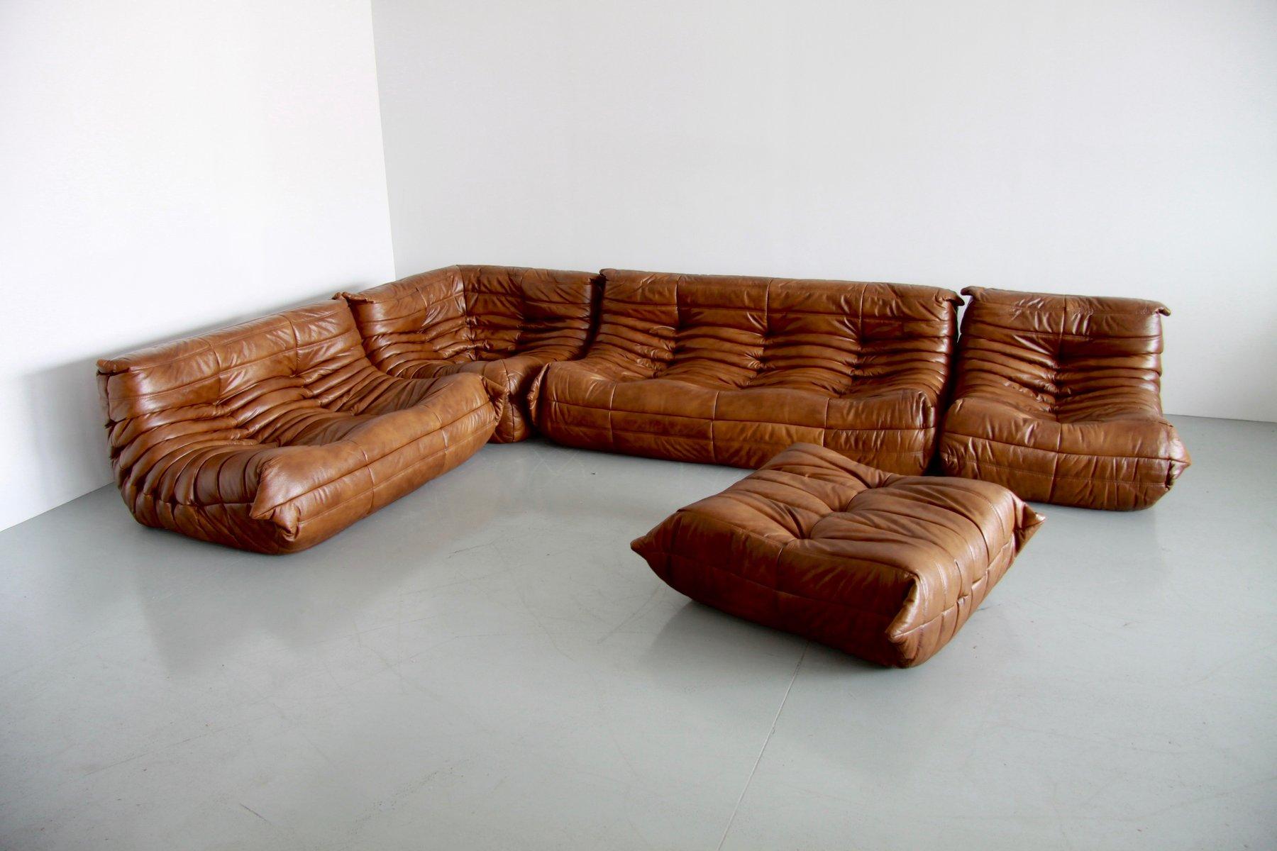 vintage cognac leather togo living room set by michel. Black Bedroom Furniture Sets. Home Design Ideas