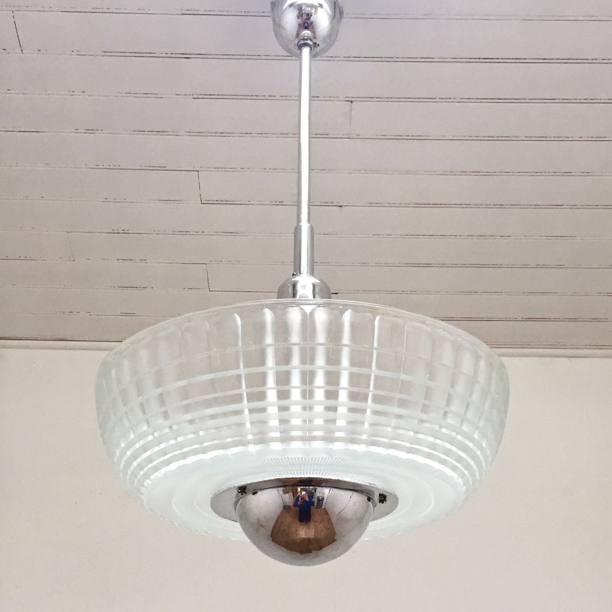 Große Deckenlampe von Holophane, 1950er