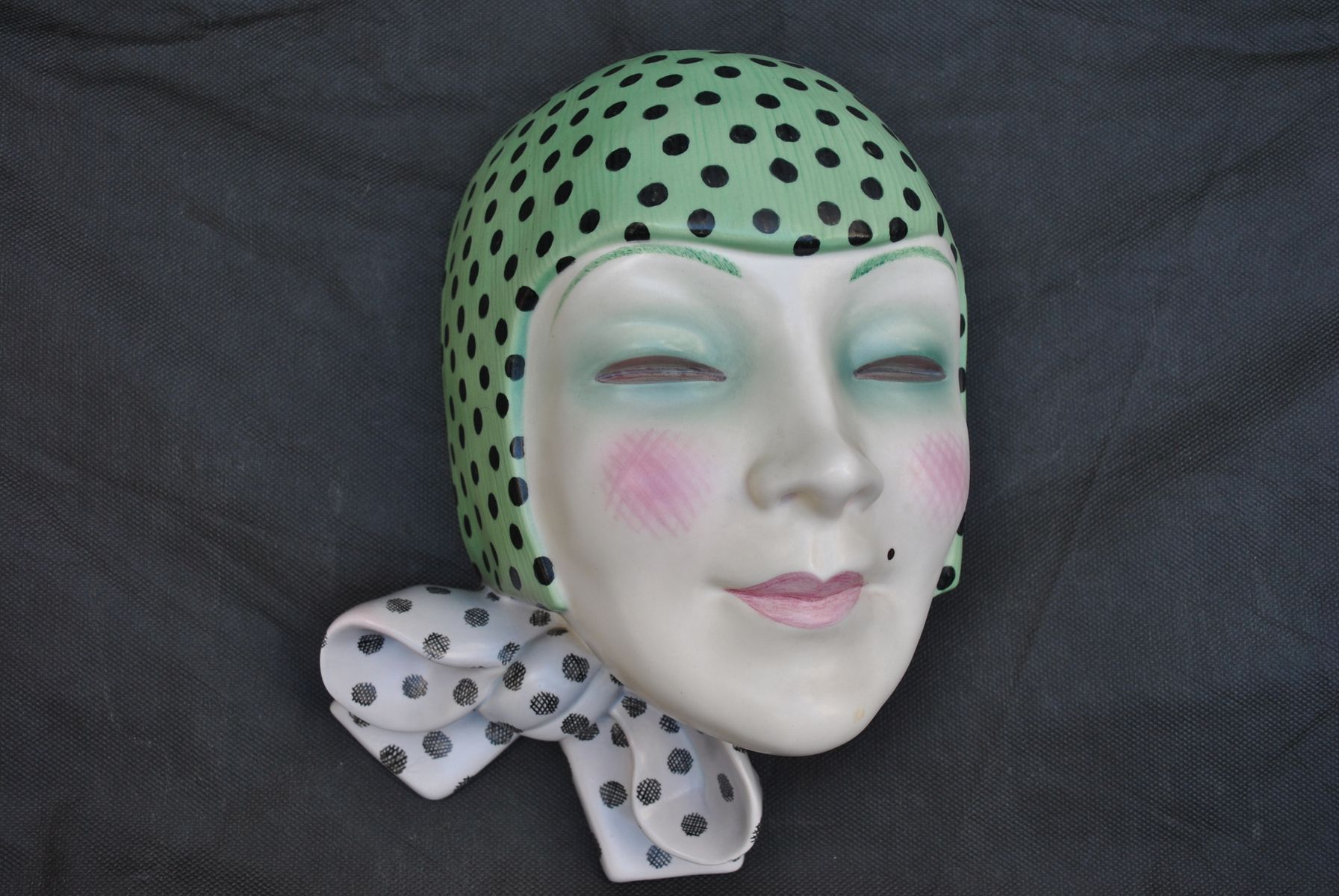 Art Deco Italian Mask With Knot By Helen Konig Scavini For