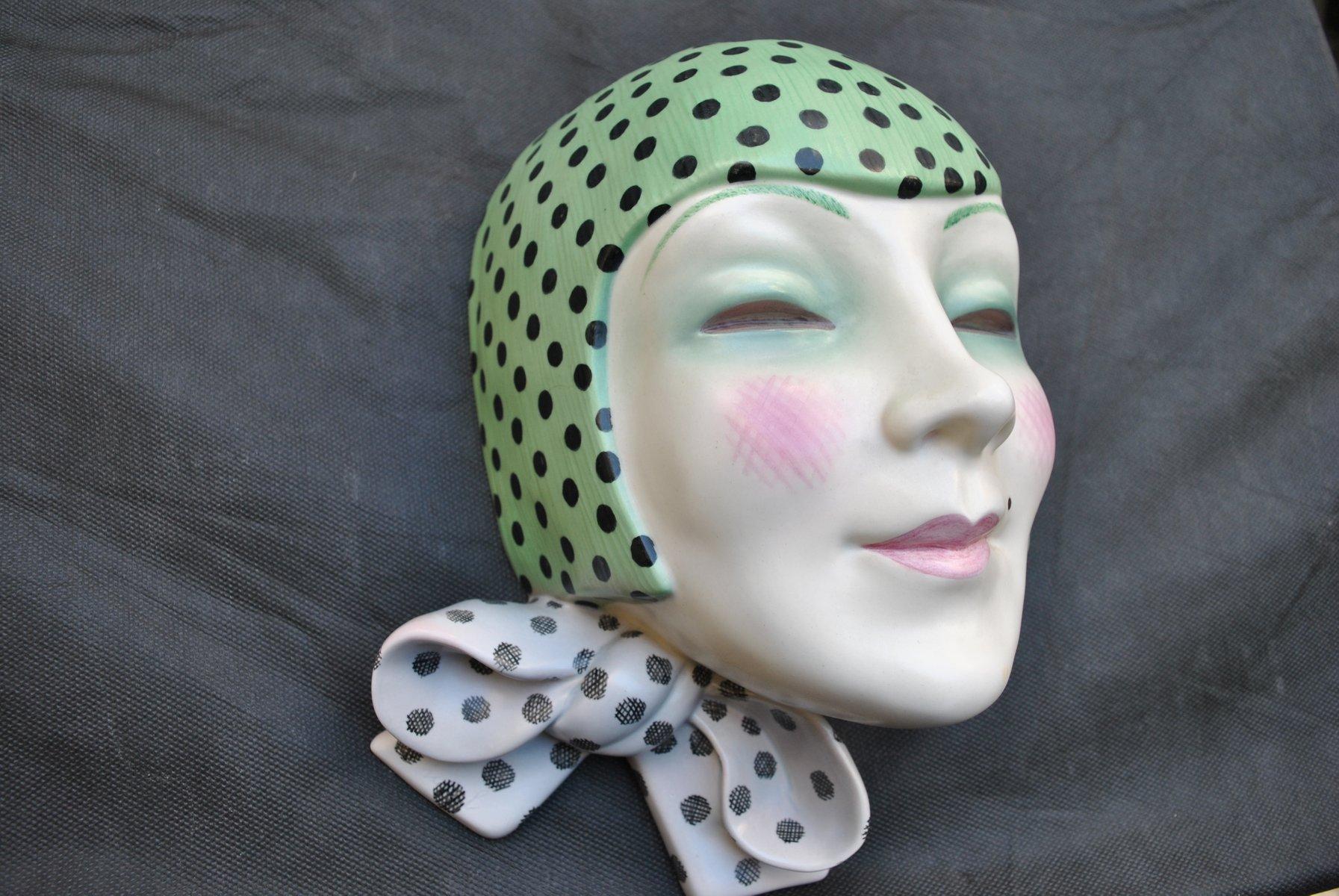 Art Deco Italian Mask With Knot By Helen Konig Scavini For