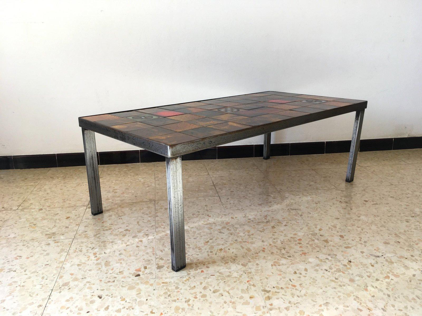 table basse vintage en c ramique vallauris de la roue 1960s en vente sur pamono. Black Bedroom Furniture Sets. Home Design Ideas