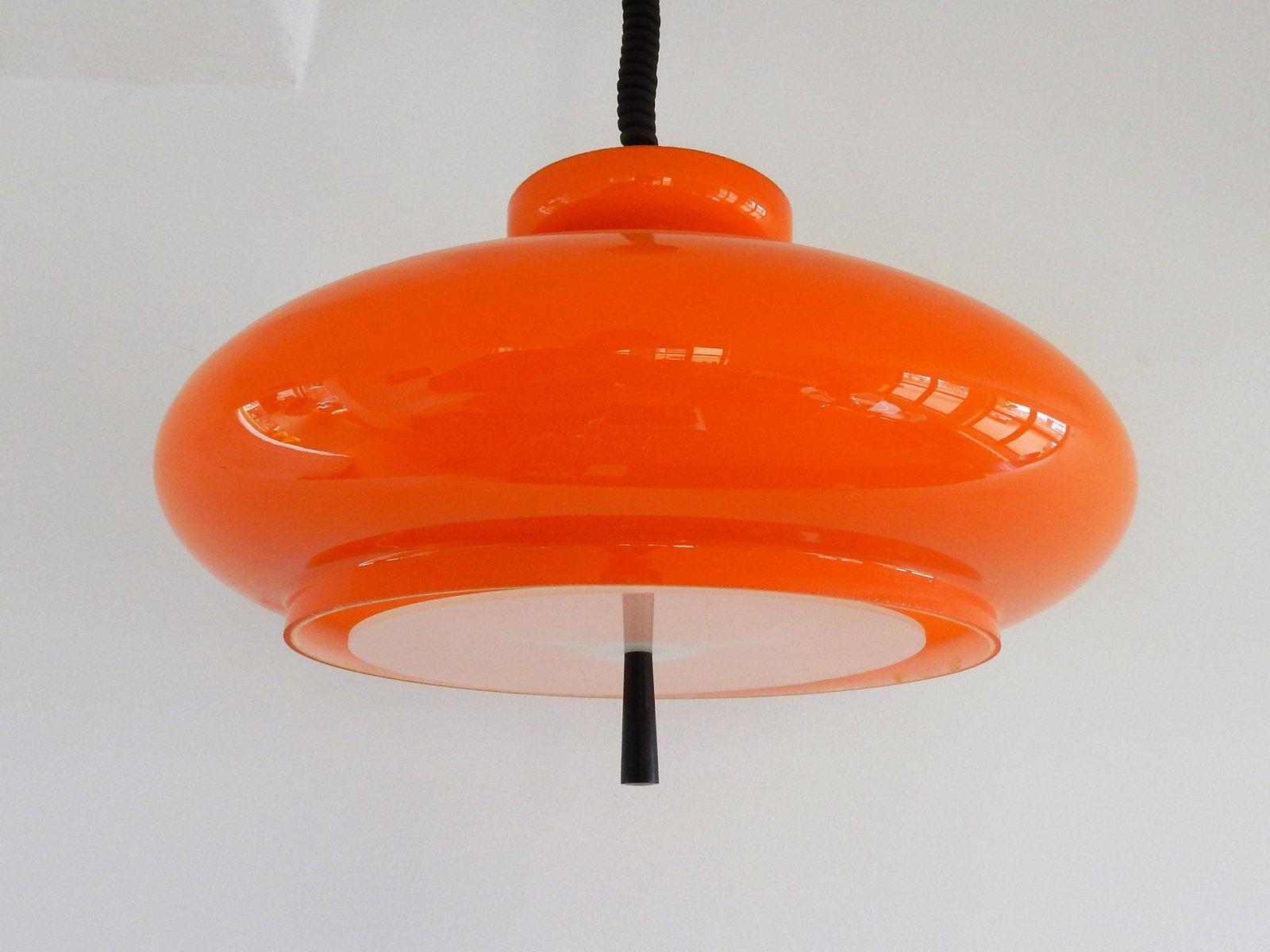 Orangefarbene Modell Schale Hängelampe aus geblasenem Glas von Raak, 1...