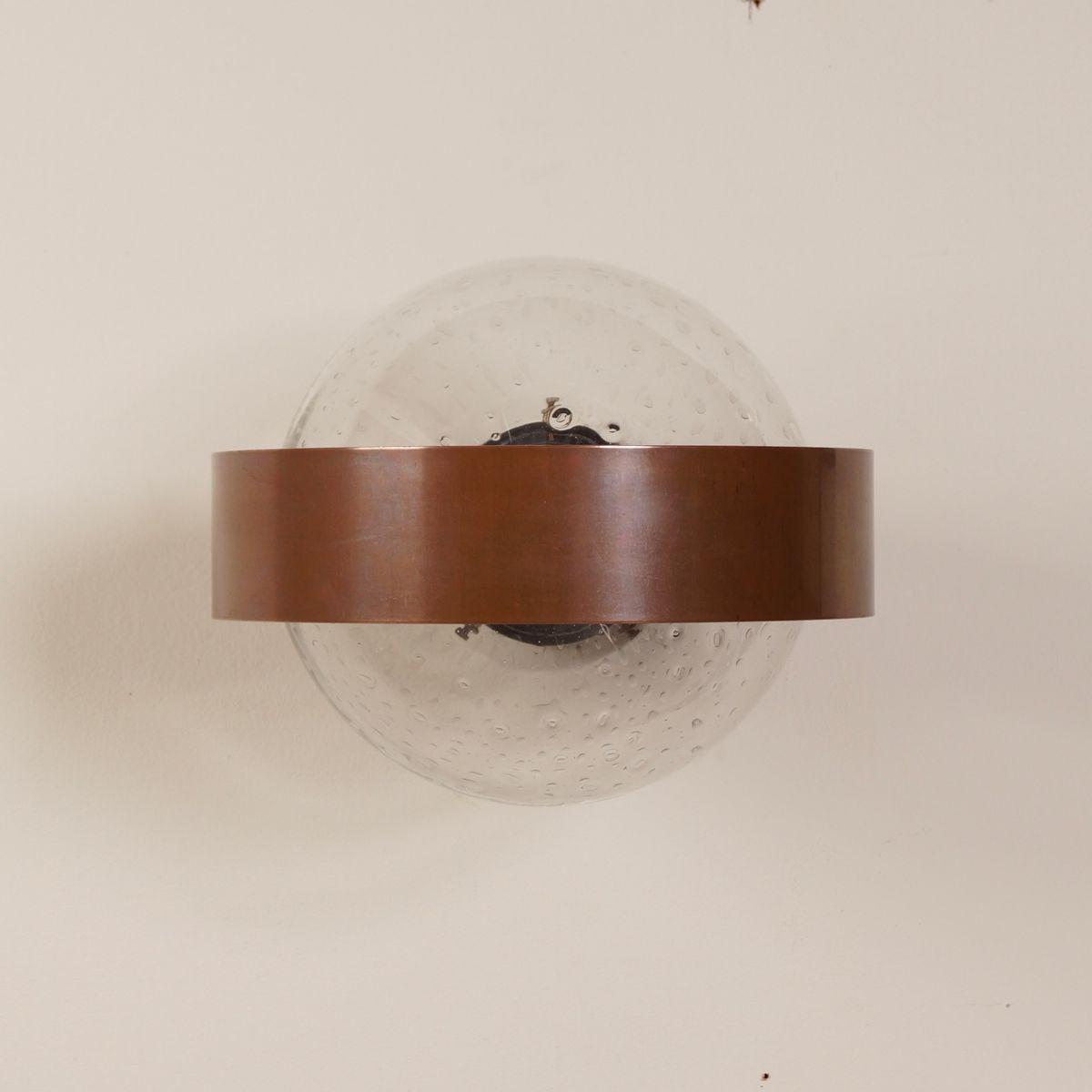 applique murale en cuivre et verre de indoor 1970s en. Black Bedroom Furniture Sets. Home Design Ideas