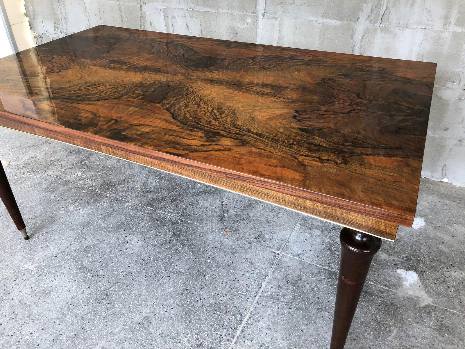 Tavolo da pranzo Art Déco in legno di noce laccato, Francia in vendita su Pamono
