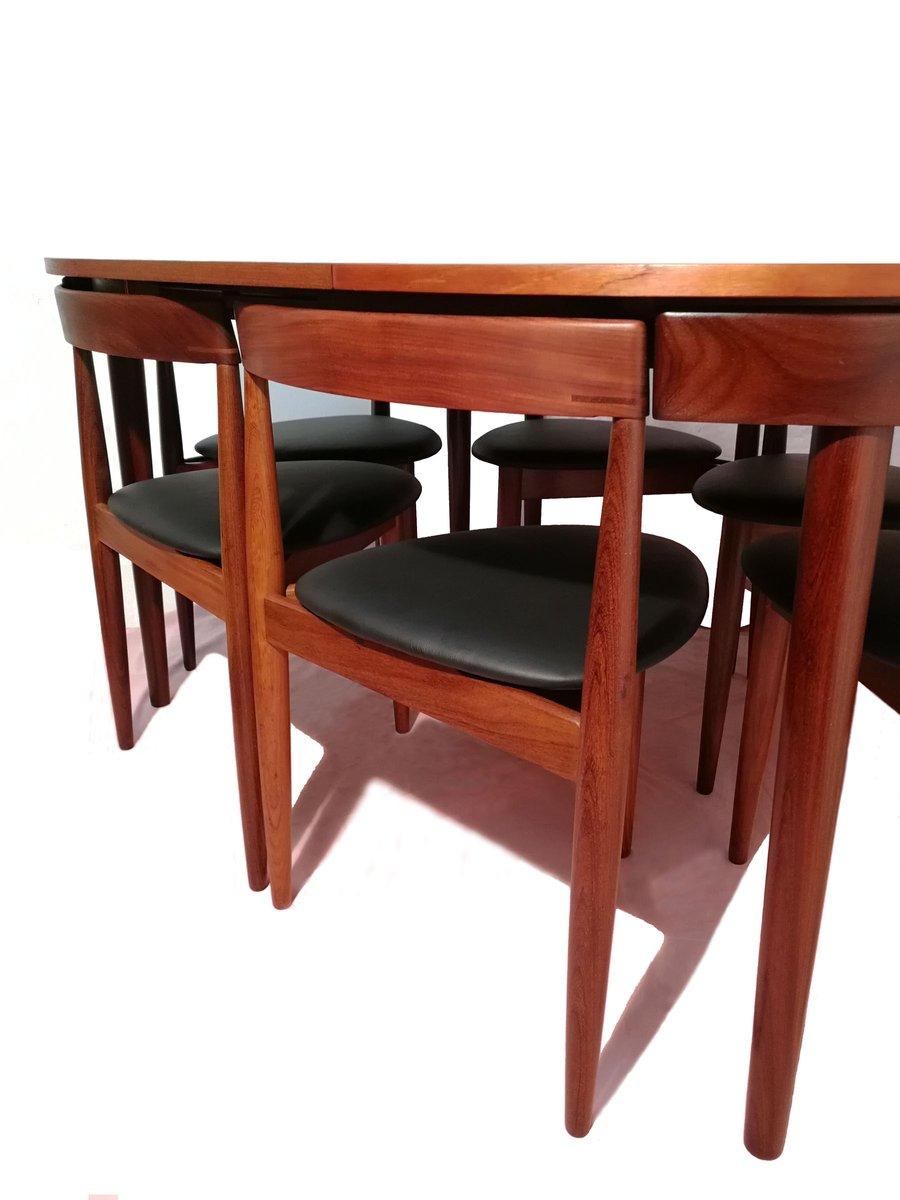 Tavolo da pranzo allungabile con sei sedie di hans olsen for Sedie per tavolo da pranzo