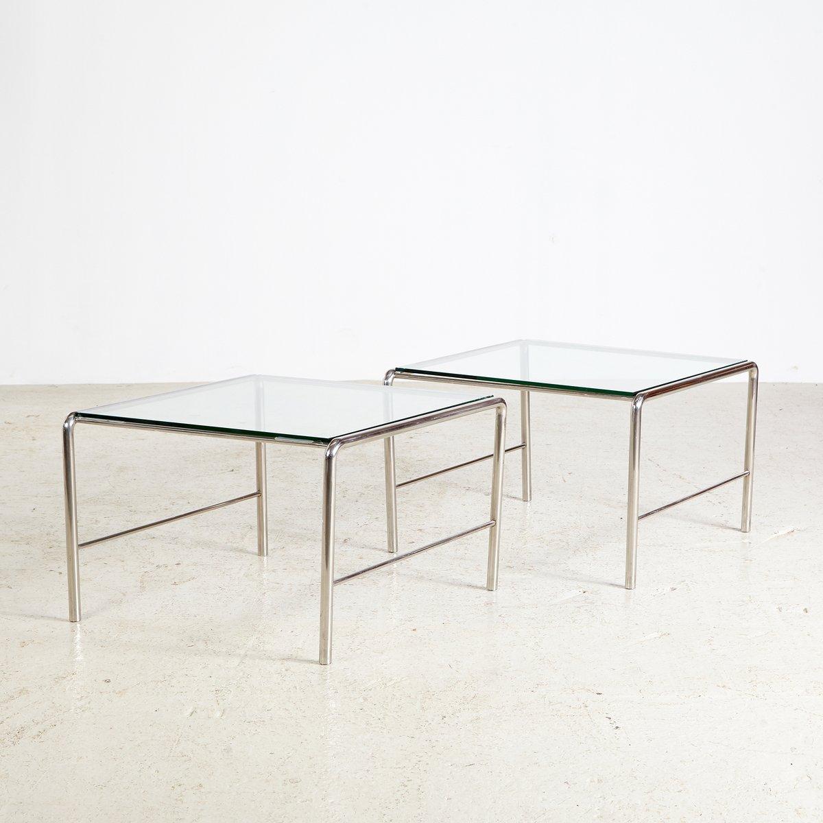 table basse lc3 vintage avec cadre en chrome et plateau en verre par le corbusier pour cassina. Black Bedroom Furniture Sets. Home Design Ideas