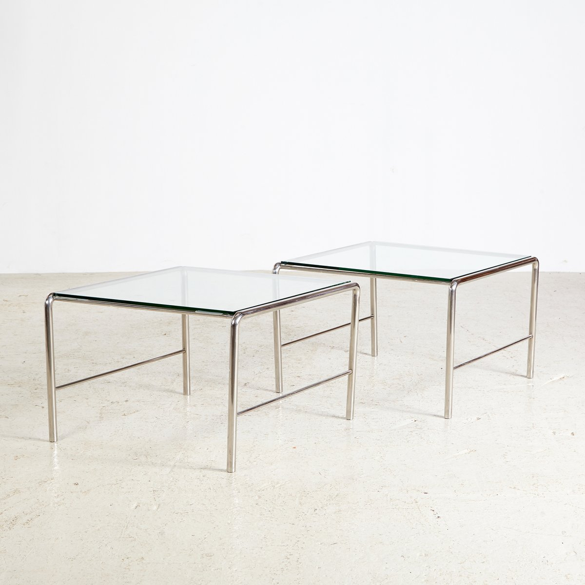 Vintage Coffee Table With Chrome Frame & Glass Top, 1960s