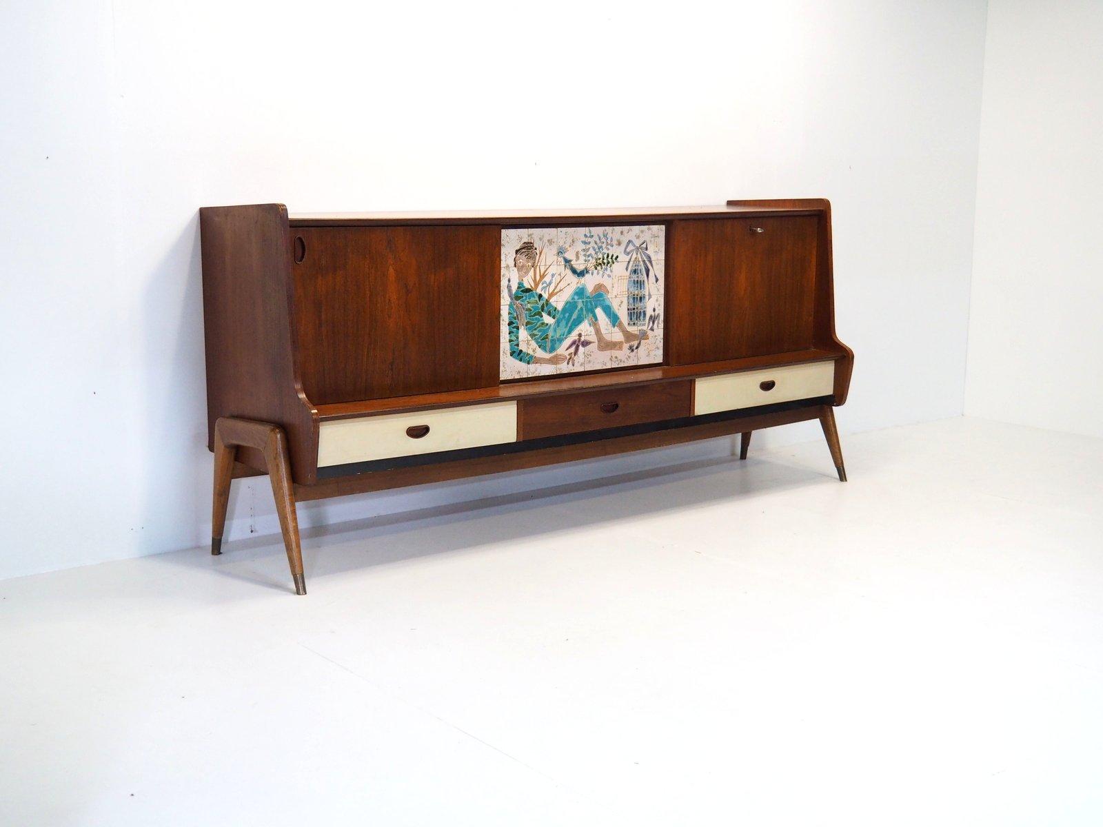Gina Sideboard mit Mosaik von Oswald Vermaercke für V-Form, 1950er
