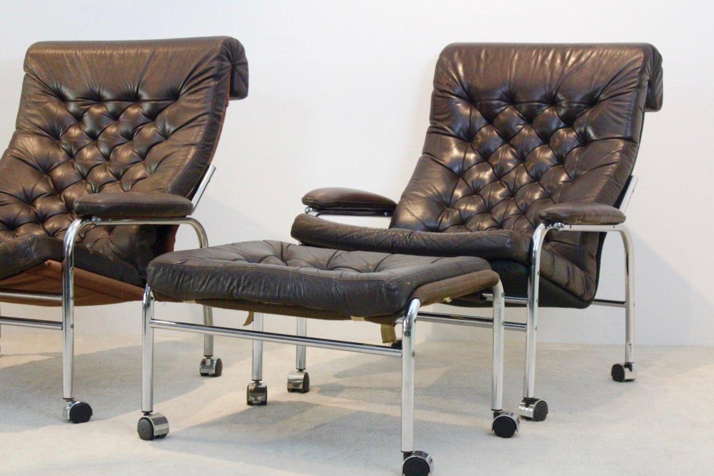 Bore Sessel mit Fußhocker von Noboru Nakamura für Ikea 1970er bei Pamono kaufen