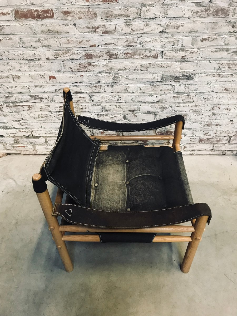 Vintage Sirocco Safari Black Canvas Chair By Arne Norell