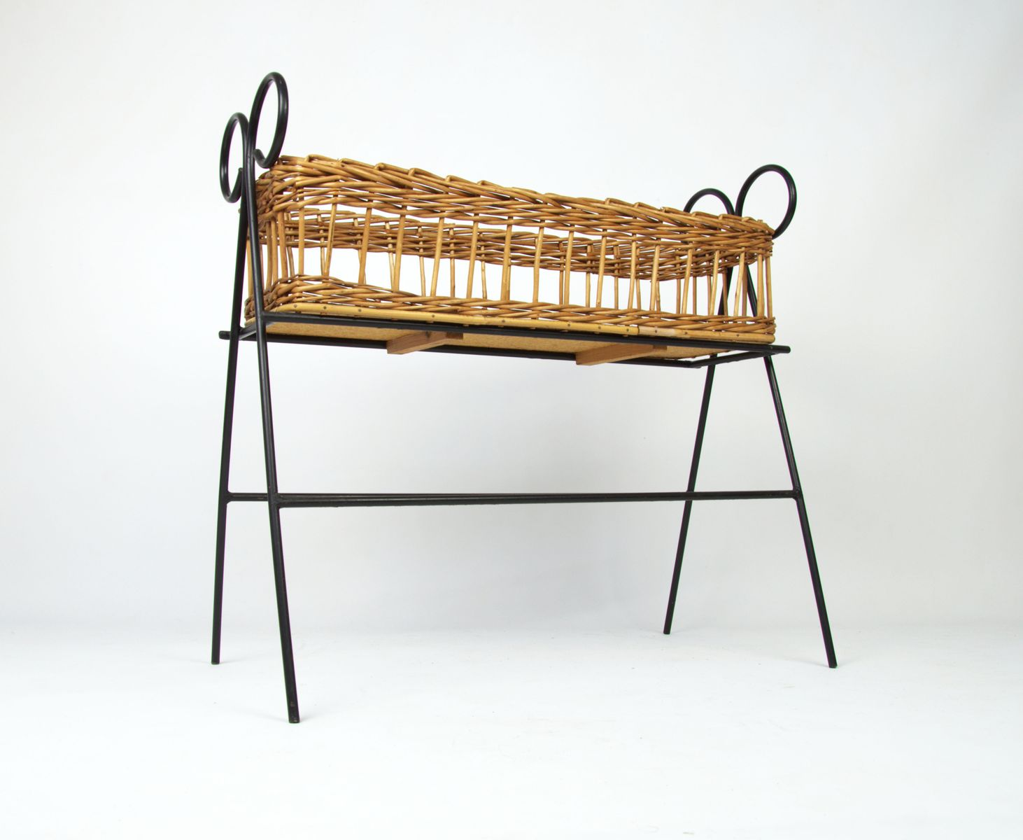 Panier d coratif vintage en osier 1970s en vente sur pamono - Panier decoratif osier ...