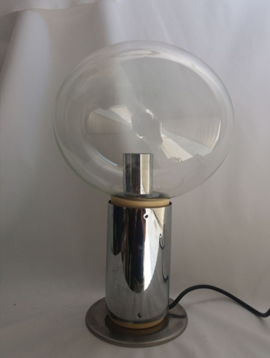 Vintage Tischlampe aus geblasenem Glas & verchromtem Metall, 1970er
