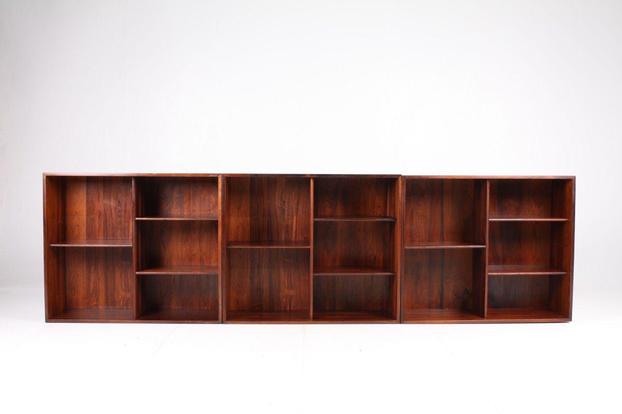 Mid Century Danish Rosewood Wall Bookcases By Kai Kristiansen For Feldballes Mobelfabrik 1960s Set Of 3