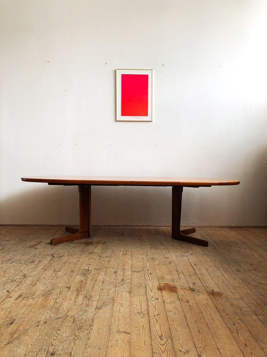 grande table de salle manger ovale mid century en teck. Black Bedroom Furniture Sets. Home Design Ideas