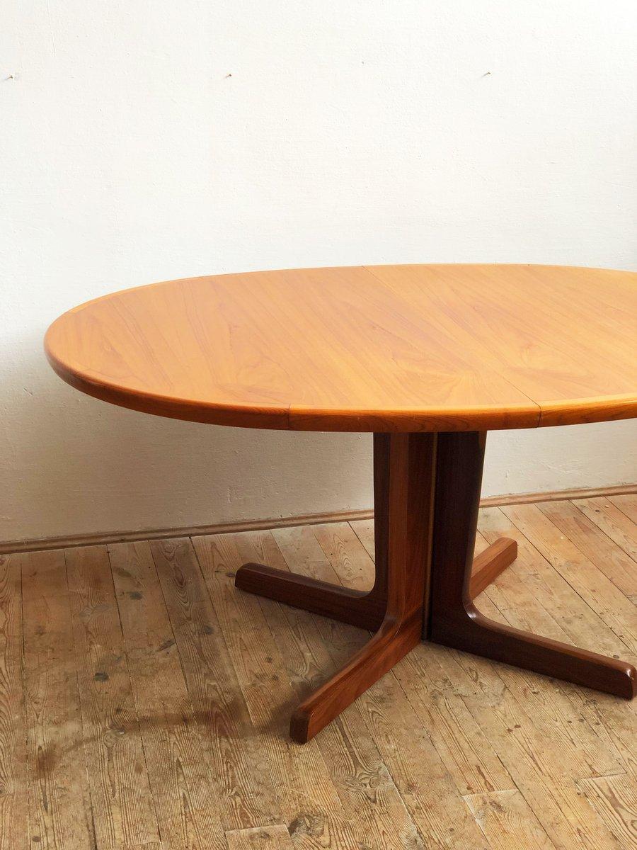 grande table de salle manger ovale mid century en teck danemark en vente sur pamono