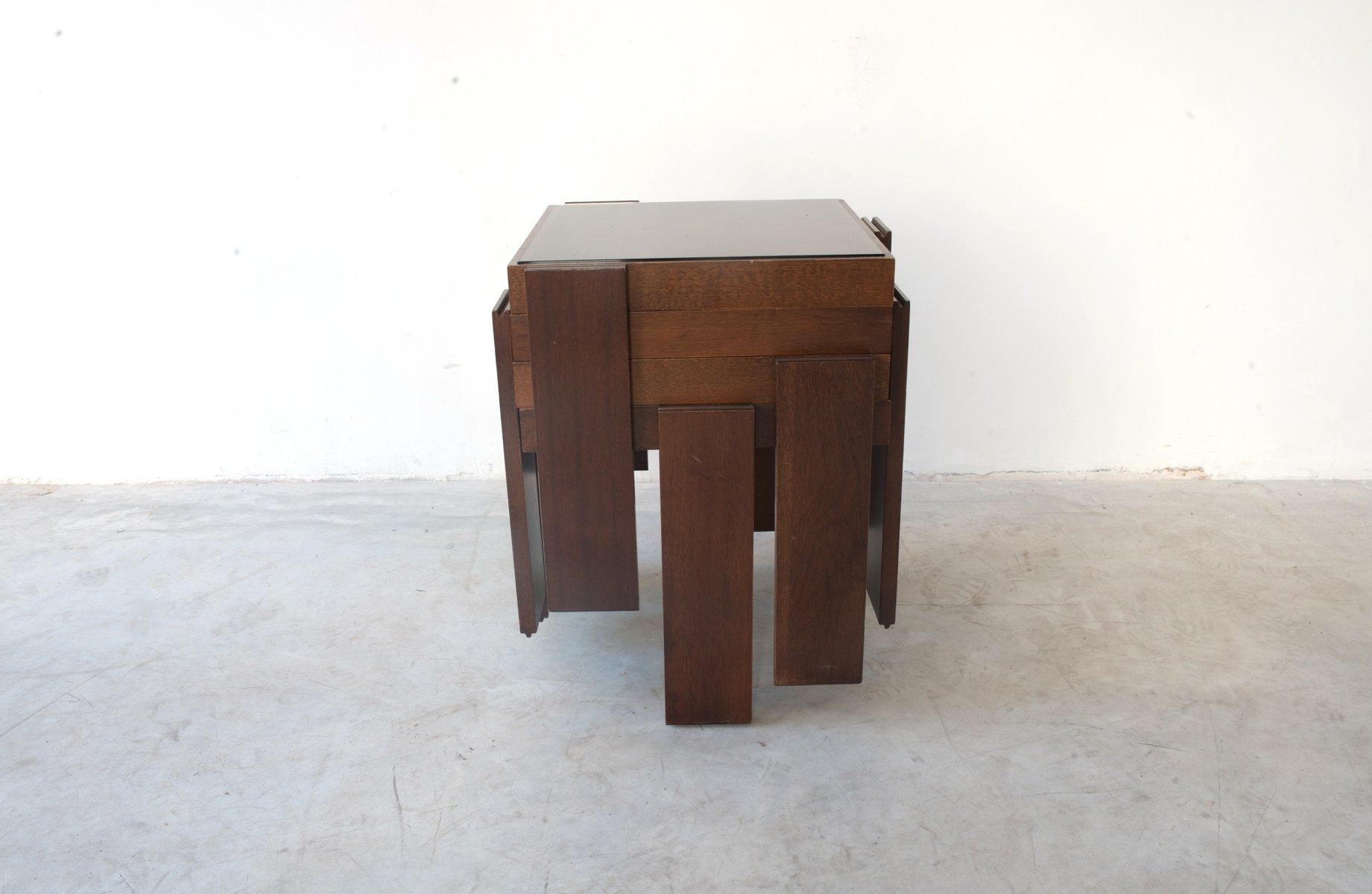 Tavolini Da Caffe Modulari Impilabili In Legno Massiccio Di Gianfranco Frattini Per Cassina 1965 Set Di 4 In Vendita Su Pamono