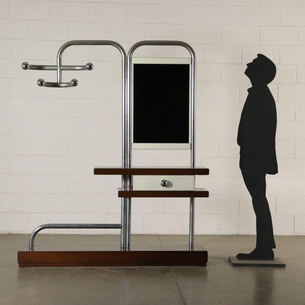 italienische garderobe mit spiegel und schublade 1970er. Black Bedroom Furniture Sets. Home Design Ideas