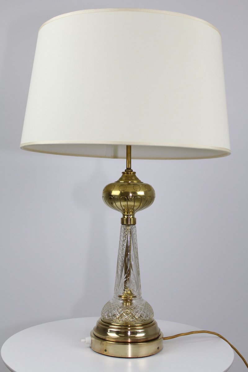 Crystal Glass Brass Table Lamp 1900s For Sale At Pamono