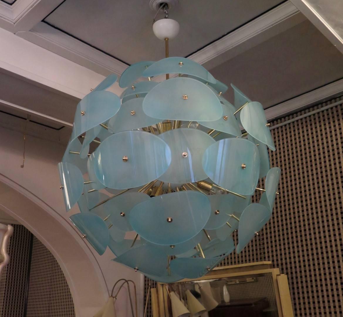 Grüner italienischer Sputnik Kronleuchter, 1970er