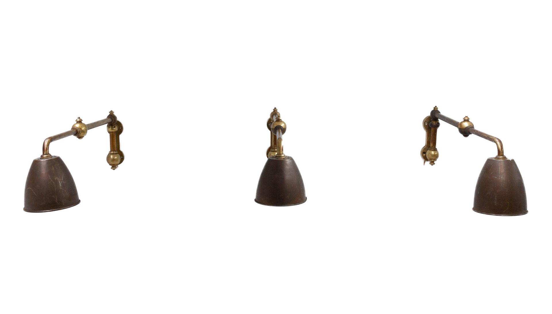 Industrielle Wandlampen mit Schwenkarm, 1976, 3er Set