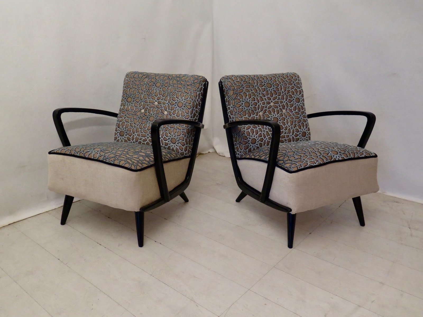 Mid-Century Sessel aus Samt & Buche, 1950er, 2er Set