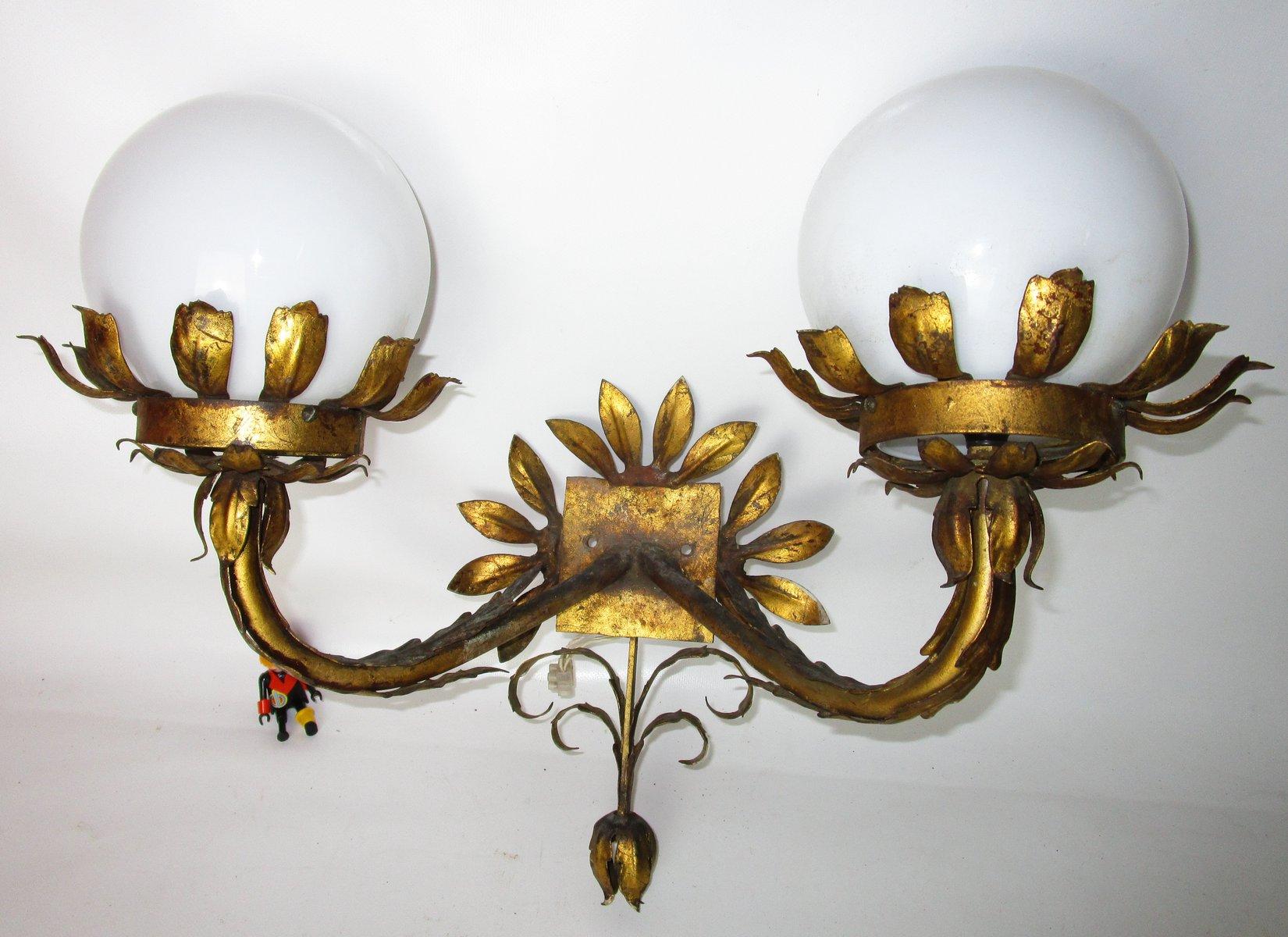 Vergoldete Mid-Century Wandlampe aus Eisen