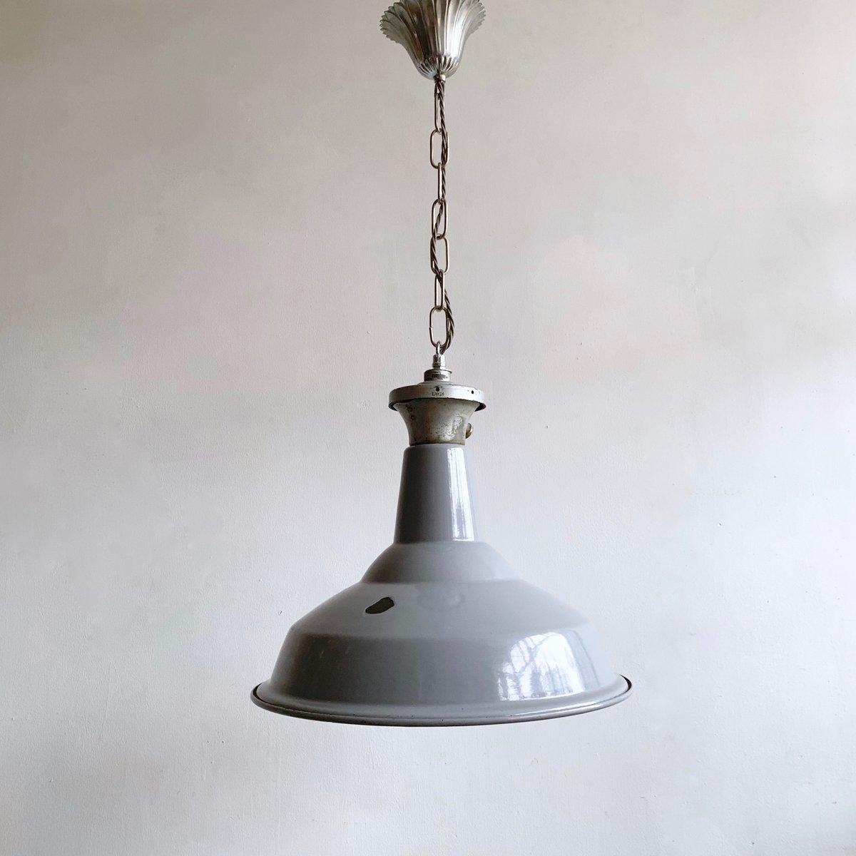 Industrieller Lampenschirm aus grauer Emaille, 1940er