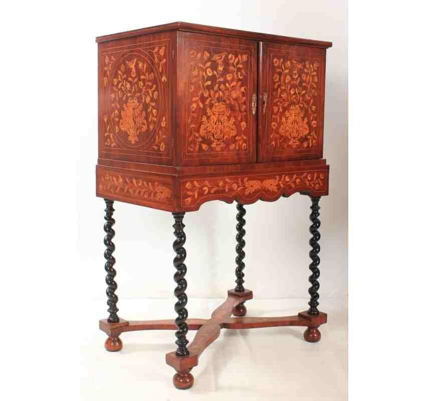 meuble sur pied antique marquet pays bas en vente sur pamono. Black Bedroom Furniture Sets. Home Design Ideas