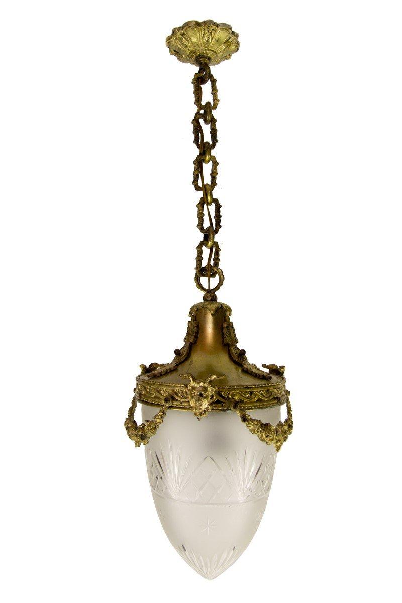 Hängelampe aus Bronze und geschliffenem Glas im Louis XVI Stil, 1920er