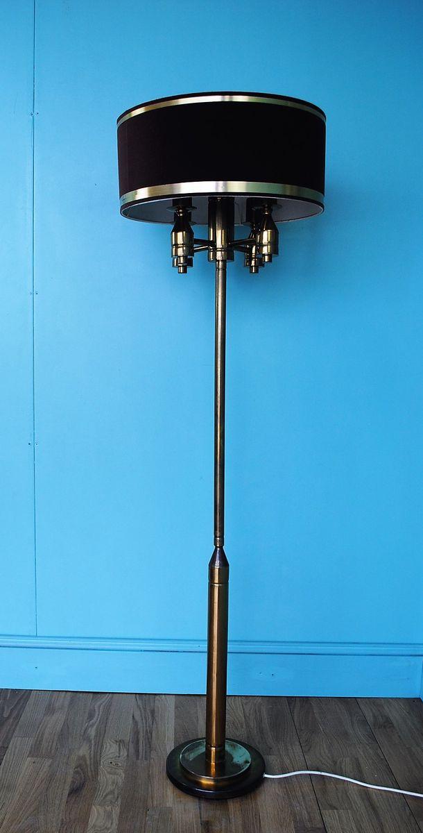 Deutsche Stehlampe aus Messing & Samt, 1970er