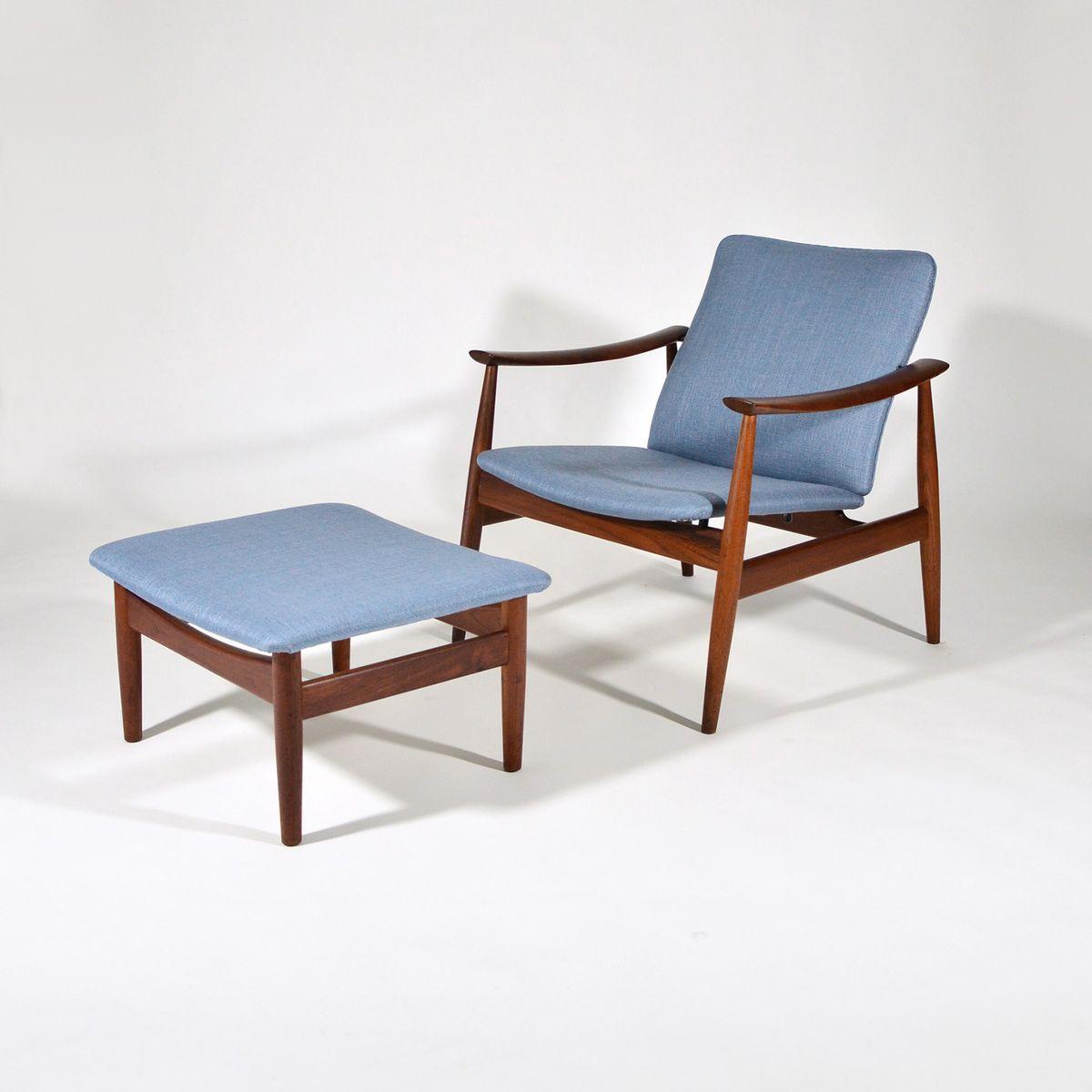 Vintage Modell 138 Sessel & Modell 137 Hocker von Finn Juhl für France...