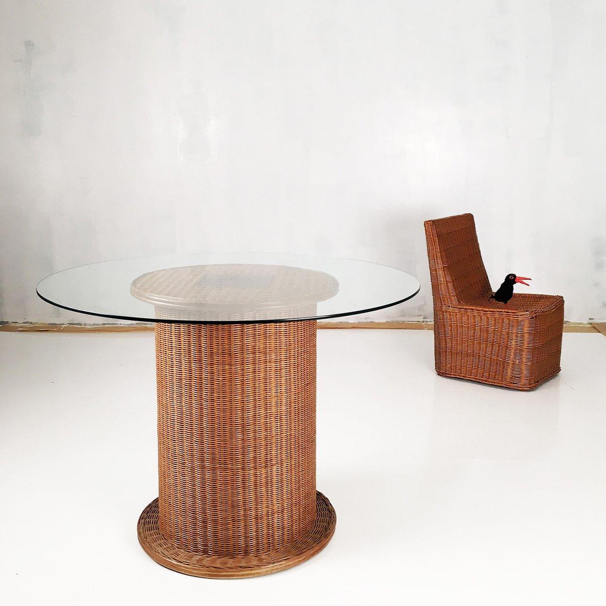 table de salle manger vintage en osier et verre en vente. Black Bedroom Furniture Sets. Home Design Ideas