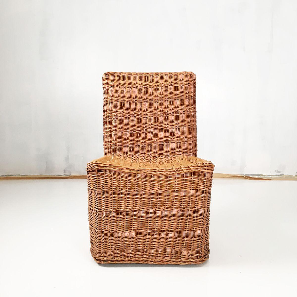 chaise d 39 appoint vintage en osier en vente sur pamono. Black Bedroom Furniture Sets. Home Design Ideas