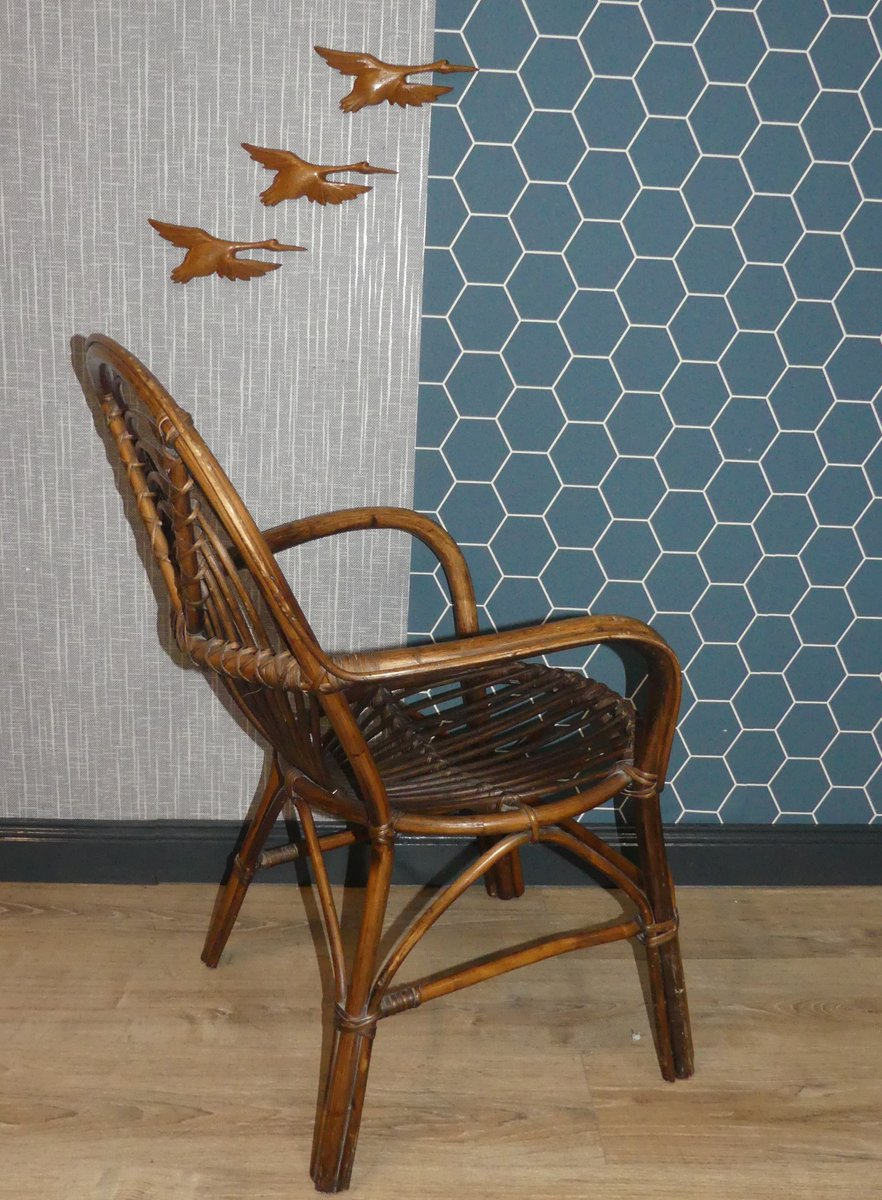 chaise d 39 appoint d corative en rotin et osier 1970s en vente sur pamono. Black Bedroom Furniture Sets. Home Design Ideas