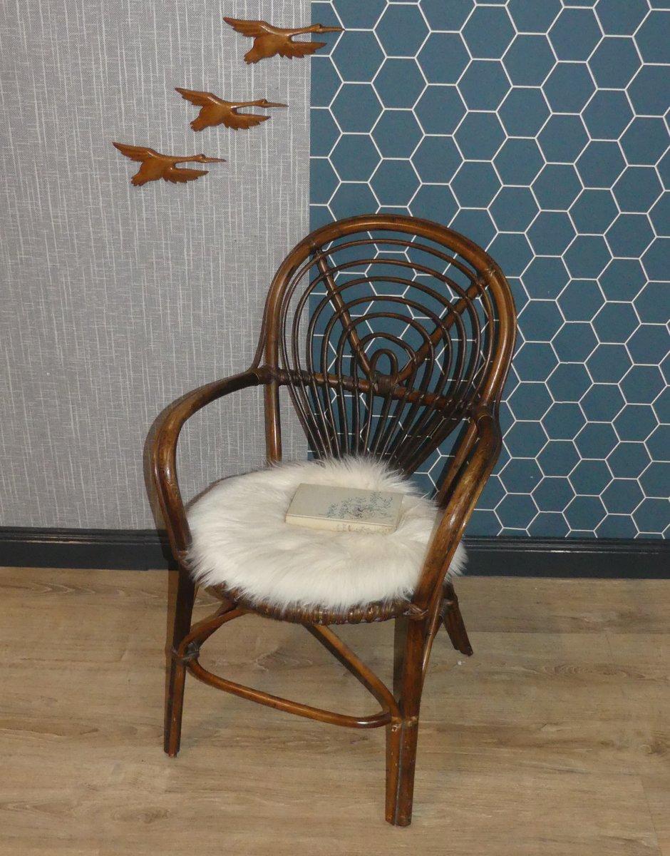 chaise d 39 appoint d corative en rotin et osier 1970s en. Black Bedroom Furniture Sets. Home Design Ideas