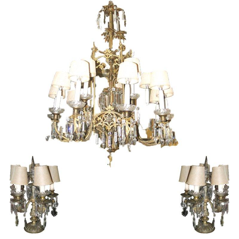 Antike Deckenlampe aus Kristallglas & 2 elektrische Kristall-Kerzenhal...