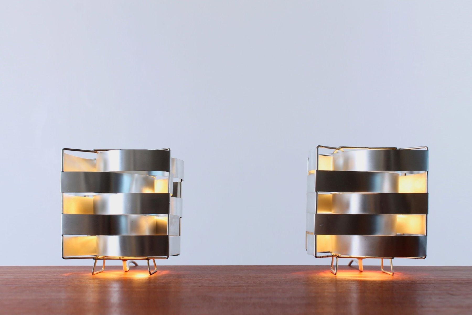 Uranus Tischlampen aus Aluminium von Max Sauze, 1970er, 2er Set