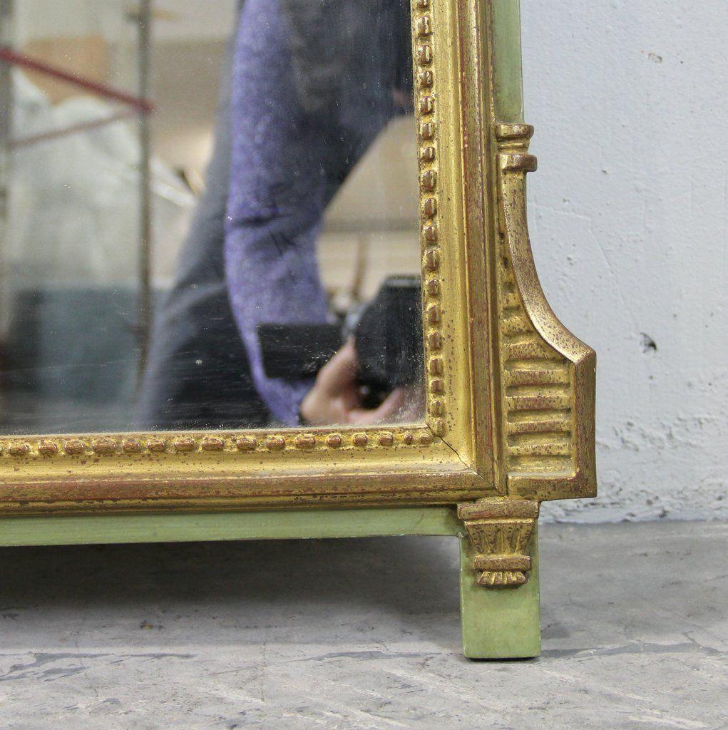 spiegel mit holzrahmen in gold gr n mit v geln 1950er. Black Bedroom Furniture Sets. Home Design Ideas
