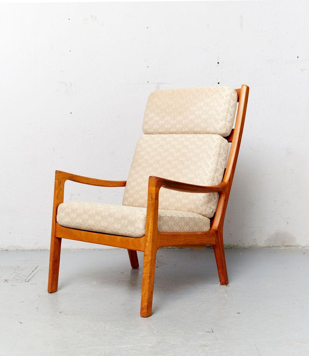 vintage senator sessel mit hoher r ckenlehne und fu hocker. Black Bedroom Furniture Sets. Home Design Ideas