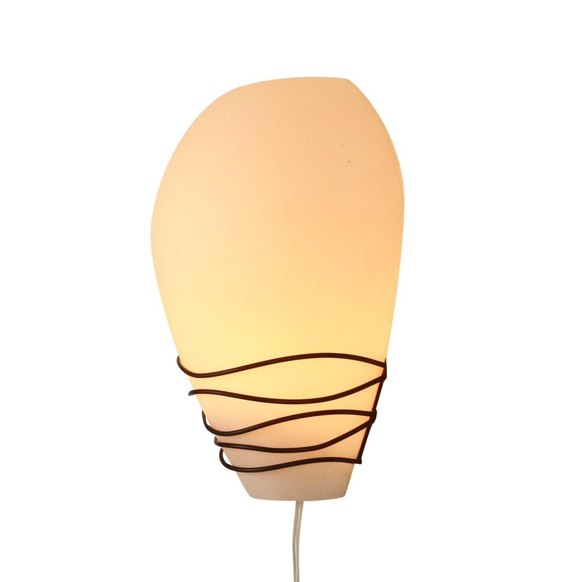 Wandlampe aus Milchglas von Louis Kalff für Philips, 1950er