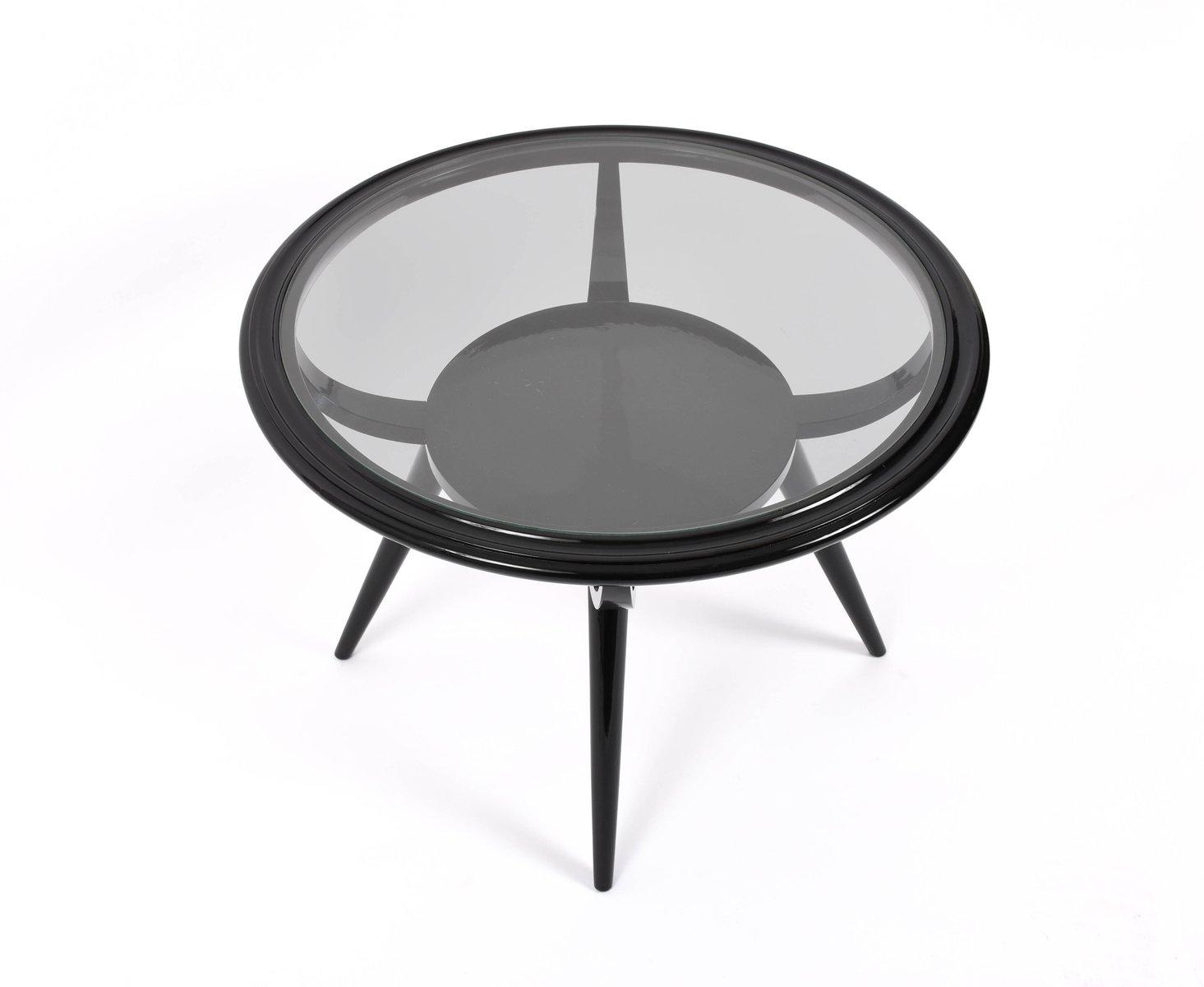 table basse art d co ronde en verre et bois laqu par ico parisi italie 1940s en vente sur pamono. Black Bedroom Furniture Sets. Home Design Ideas