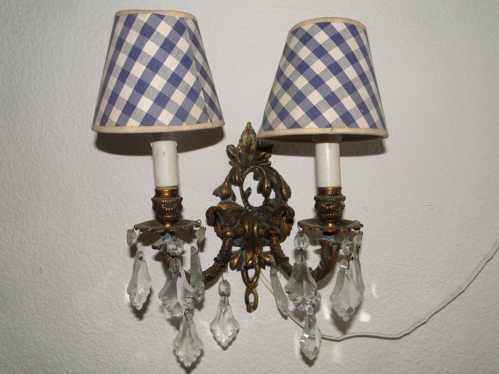 Antike doppelte Wandleuchten aus Bronze & Kristallglas, 2er Set