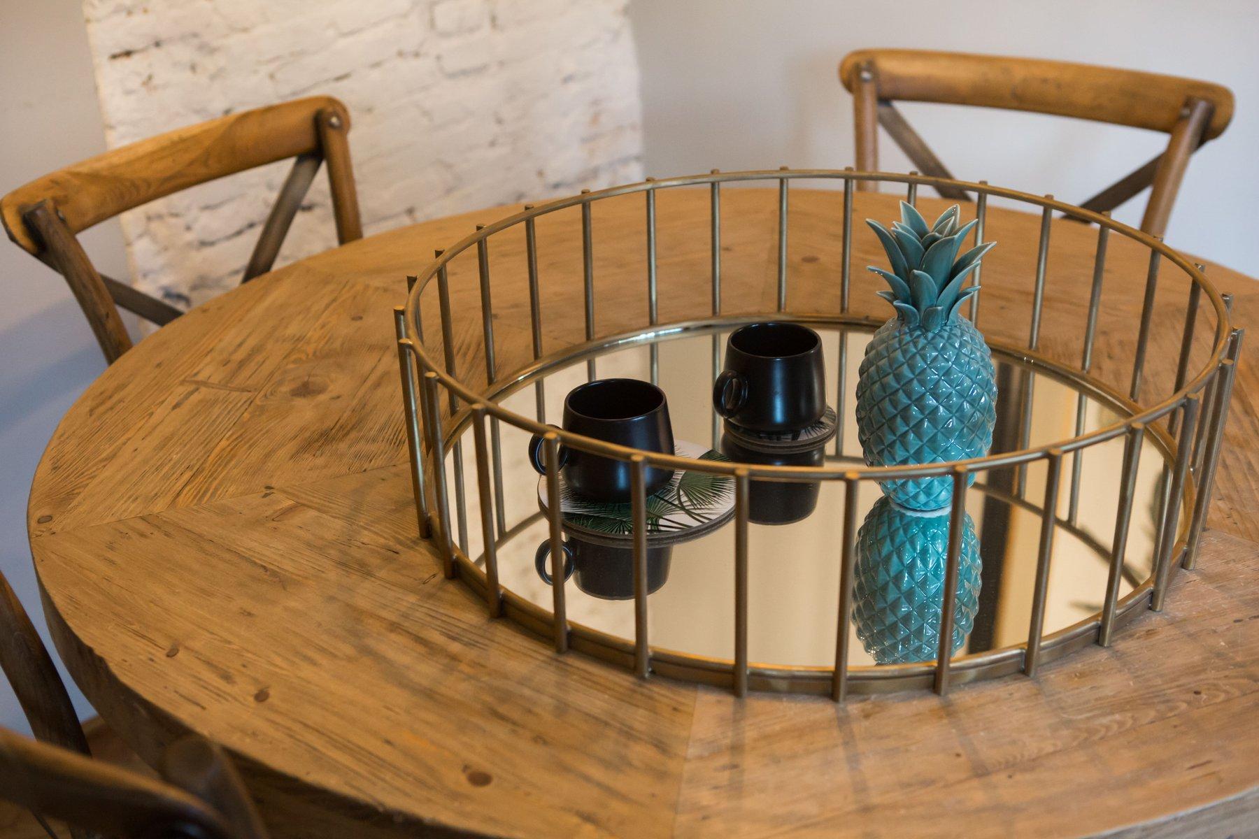 runder spiegel mit linearem rahmen von niccolo de ruvo f r. Black Bedroom Furniture Sets. Home Design Ideas