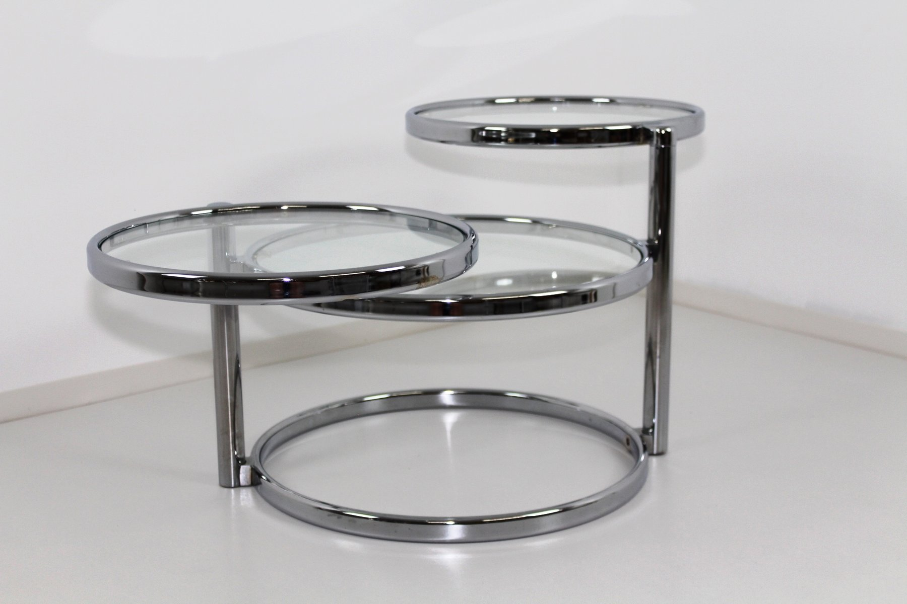 Chrome Amp Glass Swivel 3 Tier Coffee Table 1970s For Sale
